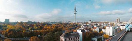 Blick auf Hamburg vom Dach der Stabi Hamburg